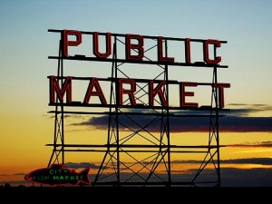 seattle public market sign sunset